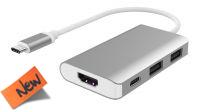 Cableadaptador USB 3.1 M - HDMI, USB 3.0x2, USB 3.1 H PD charge 20cm