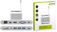Cable adaptador USB 3.1 M-RJ45 G.HDMI/VGA/USB3.0x3 SD Card USB3.1 PowF gris 15cm