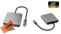 Cable adaptador USB-C 3.1 M - 2xHDMI H+USB 3.0, USB-C 3.1 PF H 4K@30Hz 15cm