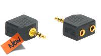 Adaptador audio dorado jack 3.5mm Stereo a 2x Jack Hembra en blister (2)