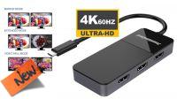 Multiplicador USB-C (DP1.4) a HDMI 3p. (2.0) soporta 4k@60Hz