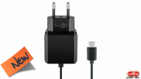 Cargador universal 110-240V Tipo C USB 5V/3A negro 1.5m