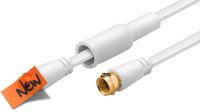 Cable de antena flat conector F plug a F plug 75 Ohm goldplated blanco 1.5m