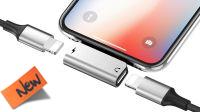 Cable Adaptador Audio iPhone 08P M a 2 x H Carga+Audio 2.4Amp Metálico