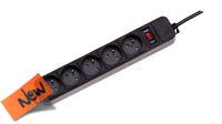 Regleta 5 tomas e interruptor protección picos en negro