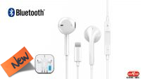 Auricular y micrófono Bluetooth con control de volumen, comp. iPhone blanco 1.2m