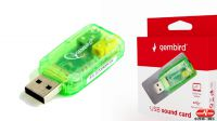 Tarjeta de sonido por USB 3.5mm micro / auricular verde transparente