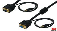 Cable de monitor VGA 15P M/F 3+7c. con Jack 3.5mm para audio negro