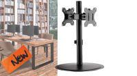 """Soporte de mesa con base para 2 monitores de 17 """" a 32"""" verticales  negro 8Kg max."""