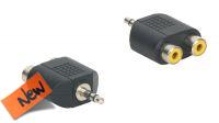 Adaptador audio Jack 3.5mm Stereo Macho a 2x RCA Hembra negro