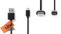Cable Flat USB A Macho a Micro USB B Macho negro 3m
