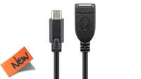 Cable extensión USB-C Macho a USB 2.0 A Hembra negro 20cm