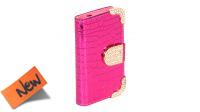 Funda protectora frontal y trasera con piedras brillantes rosa metálico