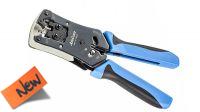 Tenaza de crimpar RJ11/12/45 con corte, pelacables y freno